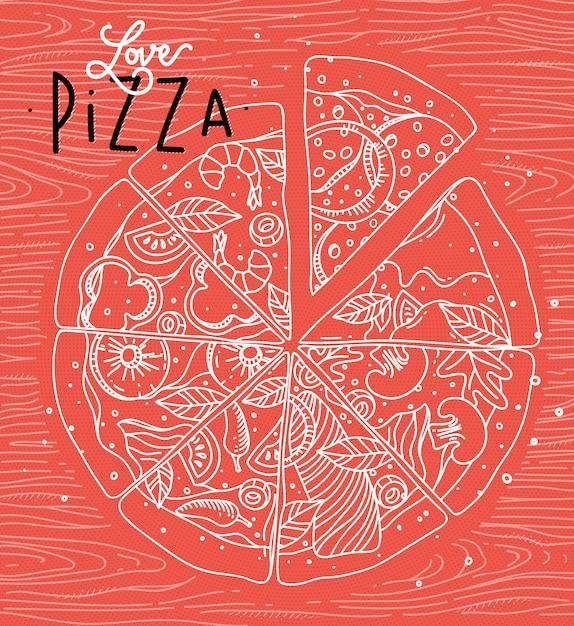 Poster lettering amor pizza desenho com linhas cinzas no fundo coral Vetor Premium
