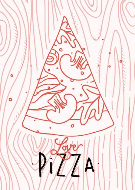 Poster lettering amor pizza desenho com linhas de coral em fundo coral Vetor Premium