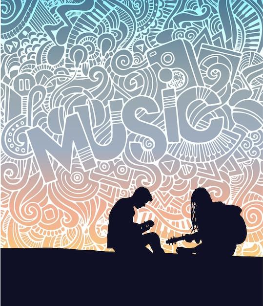 Poster musical Vetor Premium