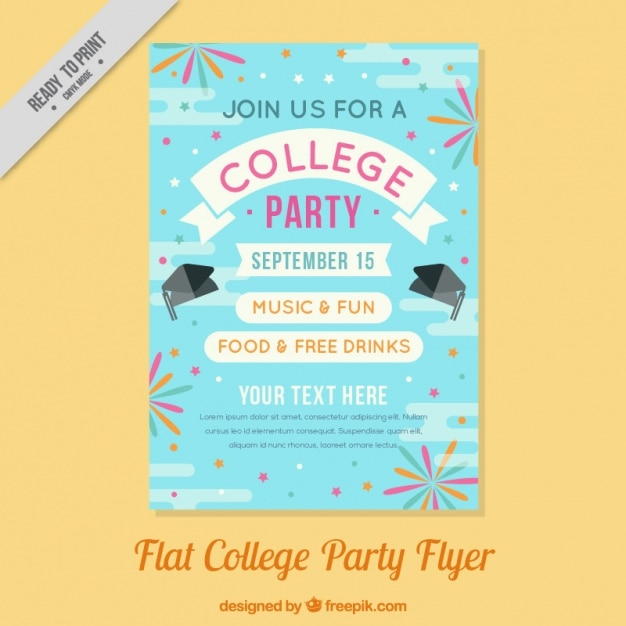 Poster plana para uma festa de faculdade Vetor grátis