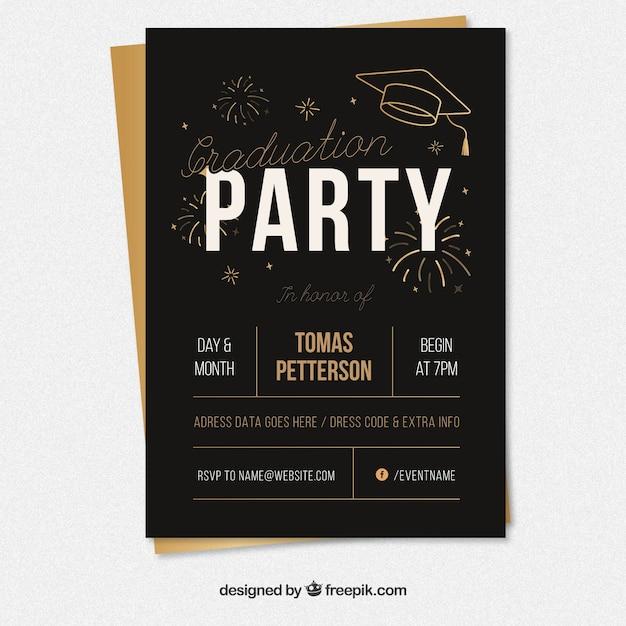 Poster preto do partido de graduação com elementos dourados Vetor grátis