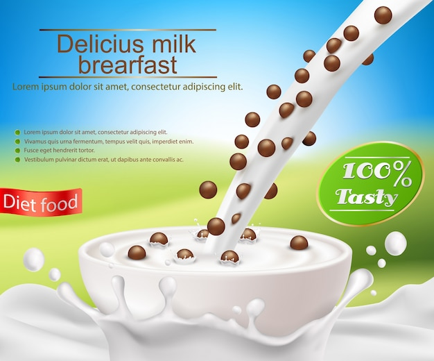 Poster realista do vetor com um respingo do leite e leite que derrama em um copo com um pequeno almoço do cereal, bolas do cereal do chocolate Vetor grátis
