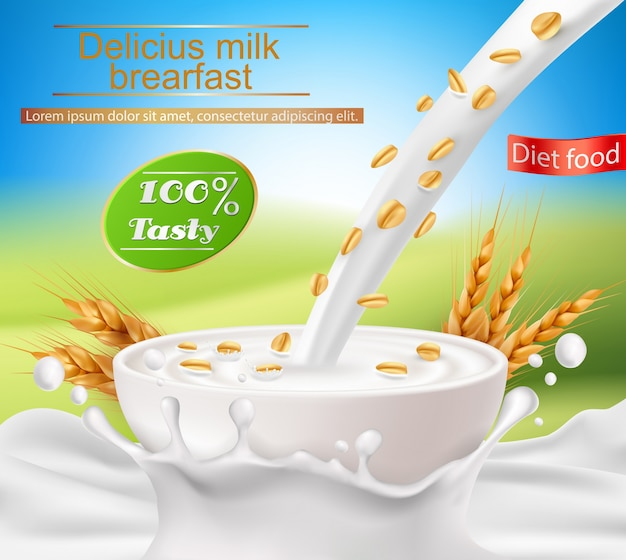 Poster realista do vetor com um respingo do leite e leite que derrama em um copo com um pequeno almoço do cereal Vetor grátis