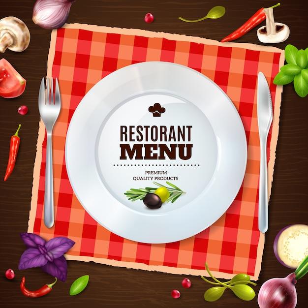 Poster realístico de backgroud da composição do menu do restaurante Vetor grátis