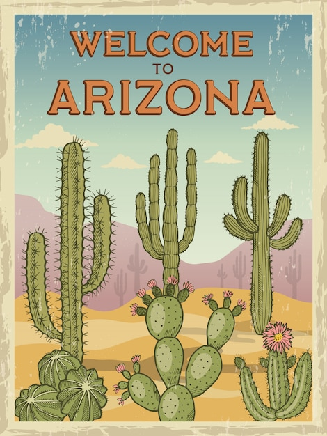 Poster retro bem-vindo ao arizona Vetor Premium