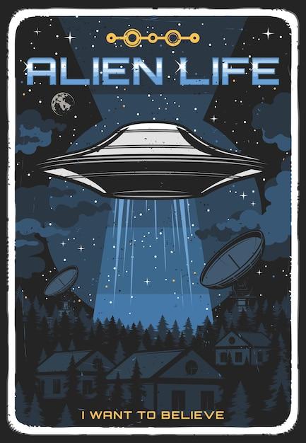 Poster retro com ufo iluminar casas à noite. disco alienígena no céu estrelado explora a vida humana na terra. canto extraterrestre do espaço sideral grunge vintage cartão, cosmos, estrelas e planetas Vetor Premium