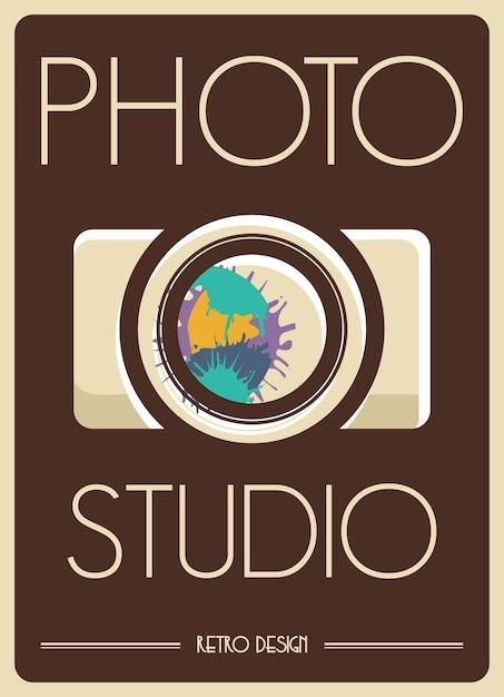 Poster retro da câmera Vetor Premium