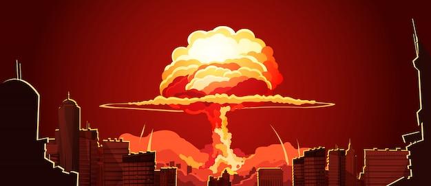 Poster retro da nuvem do cogumelo da explosão Vetor grátis