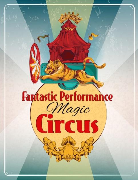 Poster retro de circo Vetor Premium
