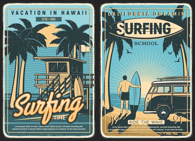 Poster retro de surf, verão de praia de surf e surfista com prancha de surf. ondas oceânicas tropicais da califórnia e do havaí, mar, sol e palmeiras, escola de surf e férias de verão, carro van ao pôr do sol na ilha Vetor Premium