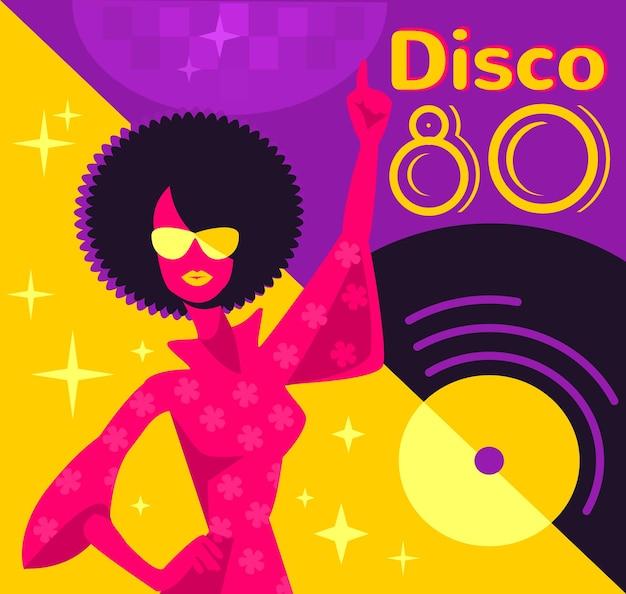 Poster retro disco. Vetor Premium
