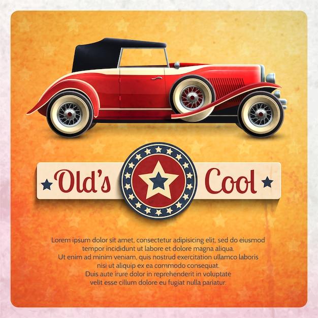 Poster retro do carro Vetor grátis