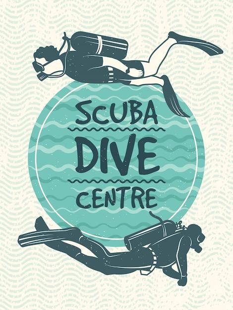 Poster retro para o clube de esporte do mergulho. Vetor Premium
