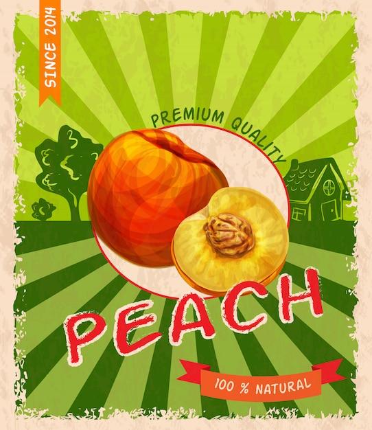 Poster retro pêssego Vetor Premium