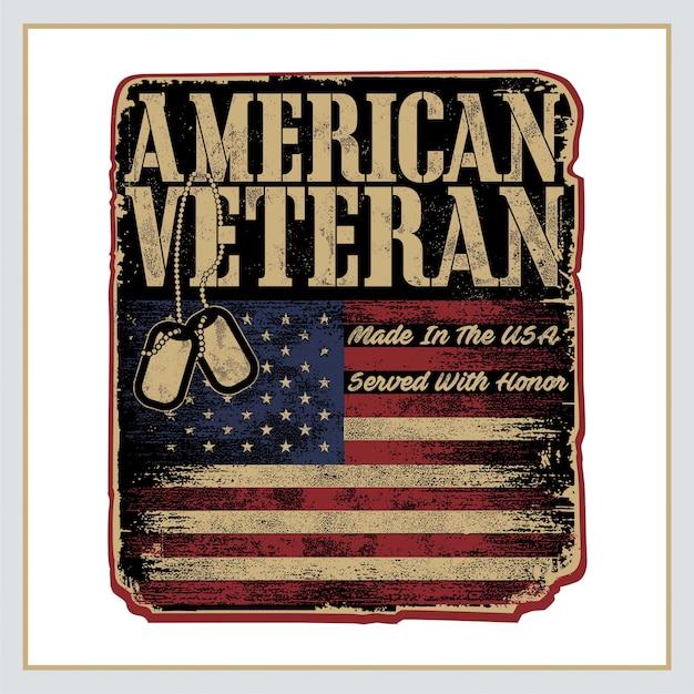 Poster retro veterano americano Vetor Premium