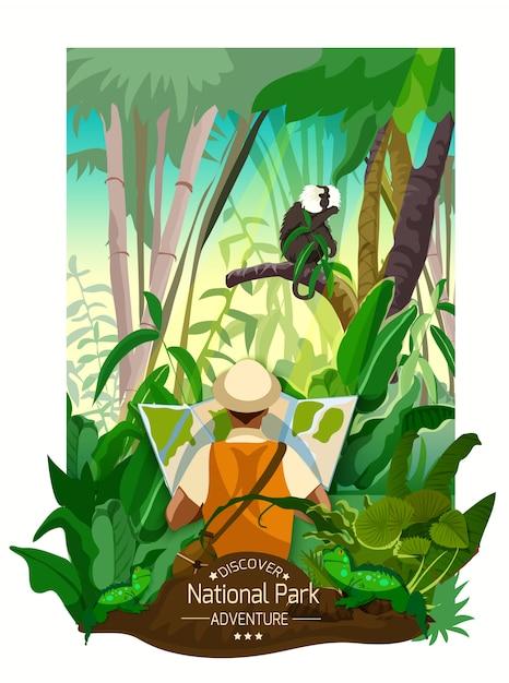 Poster tropical colorido da paisagem da floresta Vetor grátis