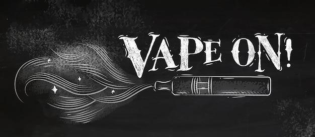 Poster vaporizador com nuvem de fumo no estilo vintage lettering vape no desenho com giz Vetor Premium