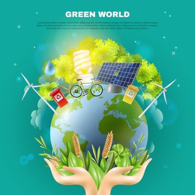 Poster verde da composição do conceito da ecologia do mundo Vetor grátis