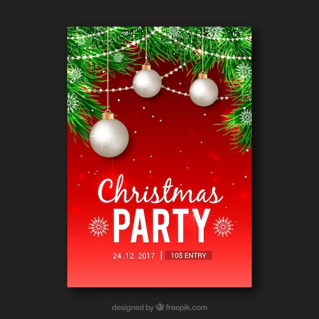 Poster vermelho brilhante de uma festa de natal Vetor grátis