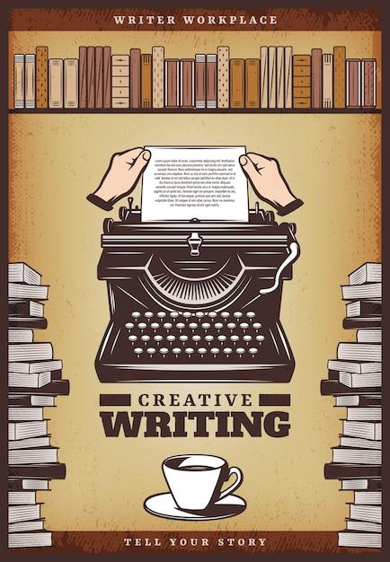 Pôster vintage colorido com as mãos inserir papel nos livros e na estante da máquina de escrever Vetor grátis