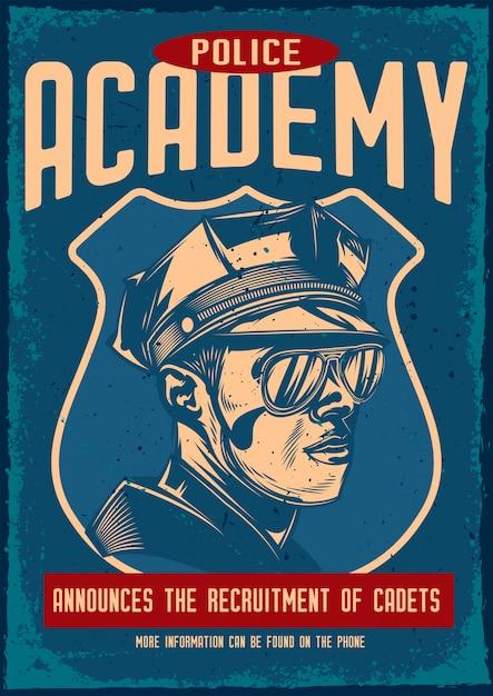Poster vintage com ilustração de um policial Vetor grátis