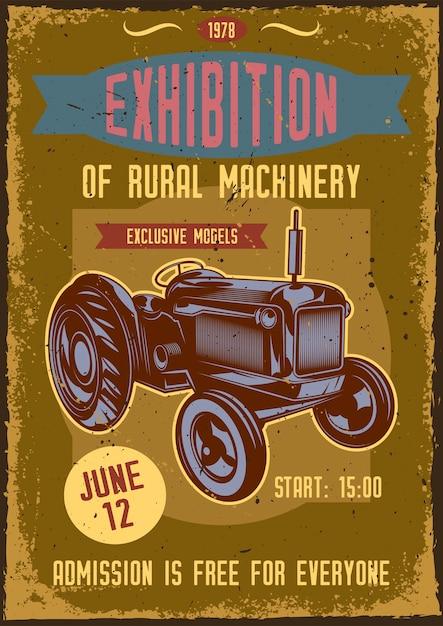 Poster vintage com ilustração de um trator Vetor grátis