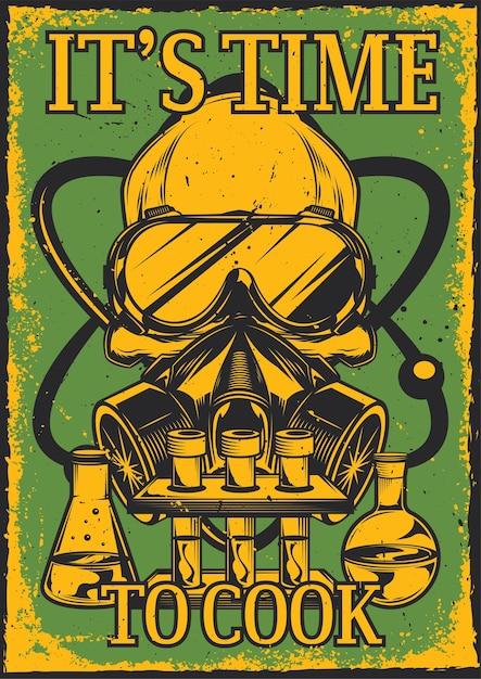 Poster vintage com ilustração de uma caveira com respirador e óculos, frascos e um átomo Vetor grátis