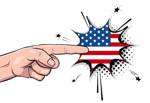 Pôster vintage com o tio sam mostra a mão e pede voto 2020 na bandeira dos eua Vetor Premium