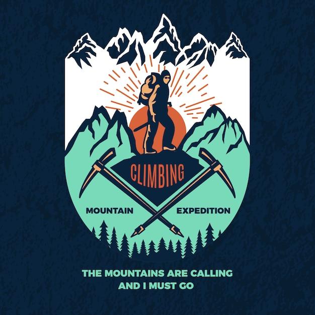 Poster vintage de alpinismo. Vetor Premium