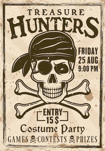 Pôster vintage de festa à fantasia de piratas com ilustração de caçadores de tesouro Vetor Premium