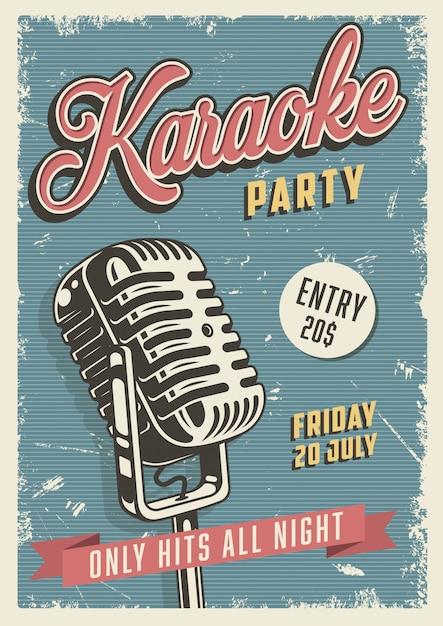 Poster vintage de festa de karaoke Vetor grátis