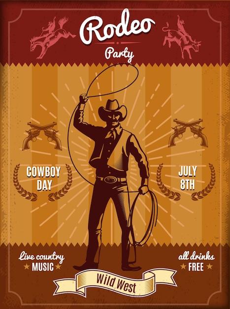 Pôster vintage de rodeio com cowboy jogando laço e elementos do velho oeste Vetor grátis