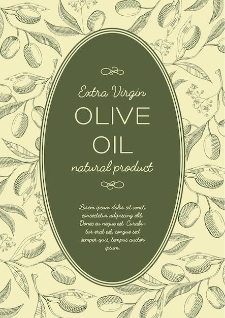 Pôster vintage verde abstrato com texto em moldura oval e galhos de árvores de azeitonas Vetor Premium