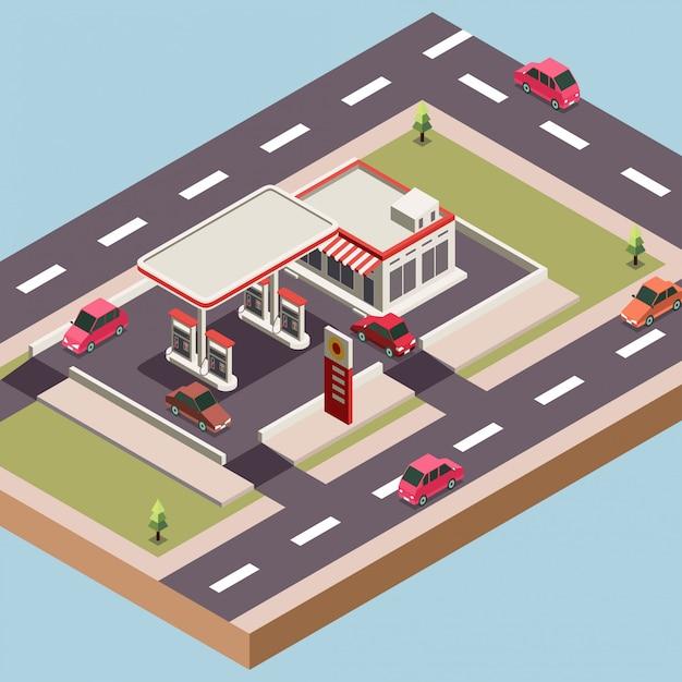Posto de gasolina e uma loja em uma cidade Vetor Premium