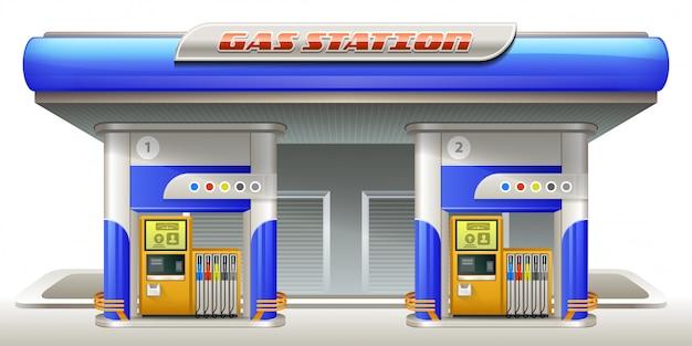 Posto de gasolina Vetor Premium