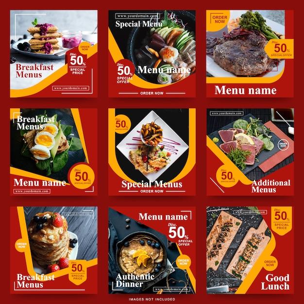 Posto de mídia social para promoção de alimentos Vetor Premium