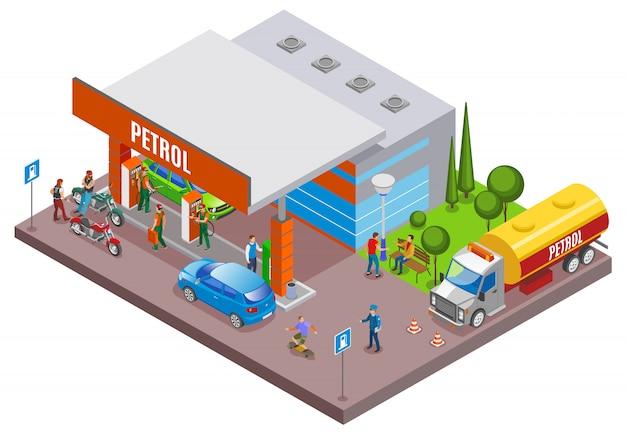 Postos de gasolina reabastecem composição isométrica com cenário urbano e posto de gasolina com pessoas e carros Vetor grátis