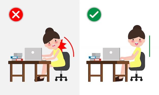 Postura de elevação correta e incorreto o homem levanta a posição errada e correta. doença dor nas costas. cuidados médicos. inadequado versus contra elevação adequada. ilustração . Vetor Premium
