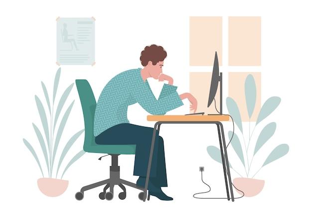 Postura incorreta. ilustração plana com homem trabalhando em um computador. Vetor Premium