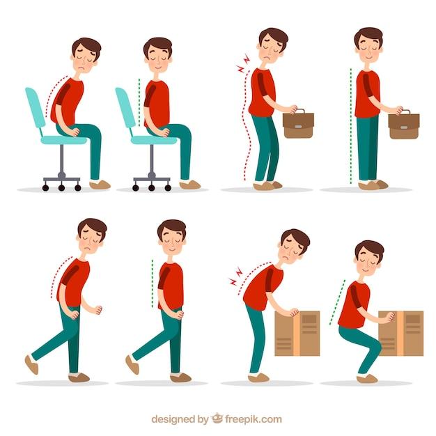 Posturas corretas e incorretas para atividades Vetor grátis