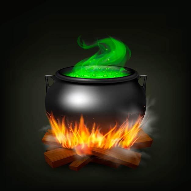 Pote de bruxa na madeira de fogo com poção verde e vapor na ilustração realista de fundo preto Vetor grátis