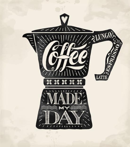 Pote de café pote moka com letras de mão desenhada Vetor Premium