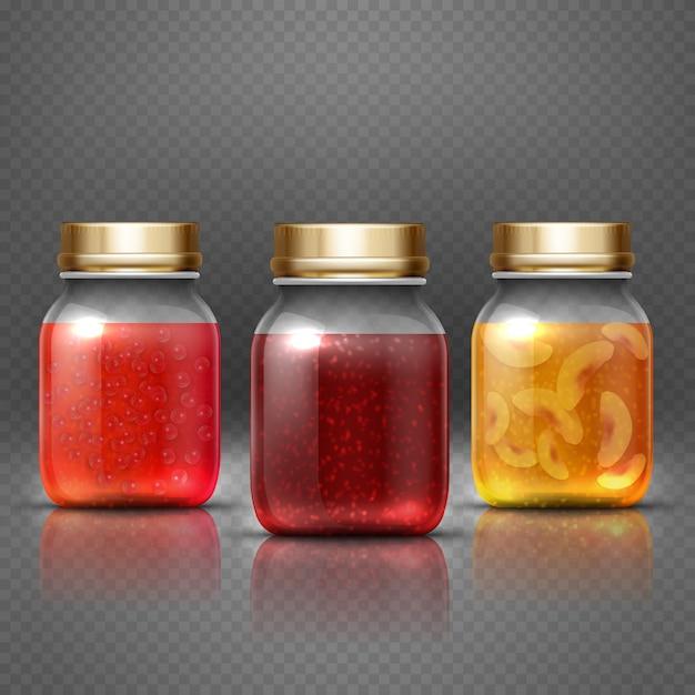 Pote de comida recipiente de vidro Vetor Premium