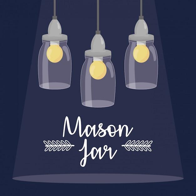 Potes de pedreiro com lâmpadas penduradas Vetor Premium