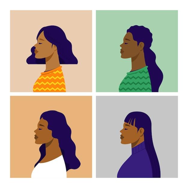 Potrait da visão lateral afro-americana. ilustração vetorial plana. Vetor Premium