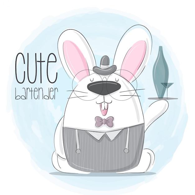 Pouco coelho mão desenhada ilustração animal-vetor Vetor Premium