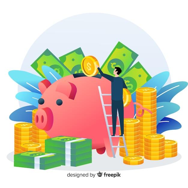 Poupar dinheiro conceito fundo Vetor grátis