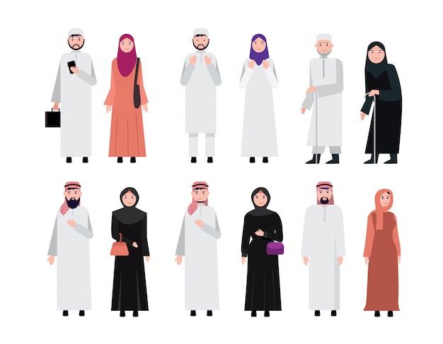 Povo árabe muçulmano Vetor Premium