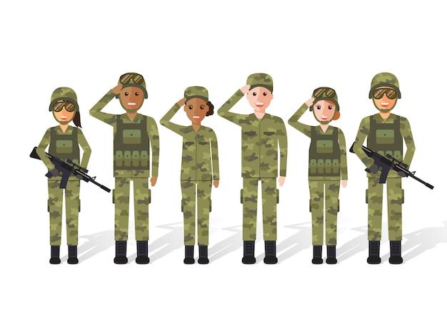 Povo militar. Vetor Premium