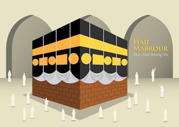 Povo muçulmano ao redor de kaaba Vetor Premium